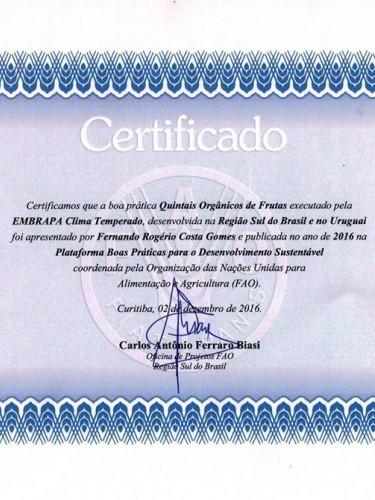 Certificado de Boa Prática - FAO